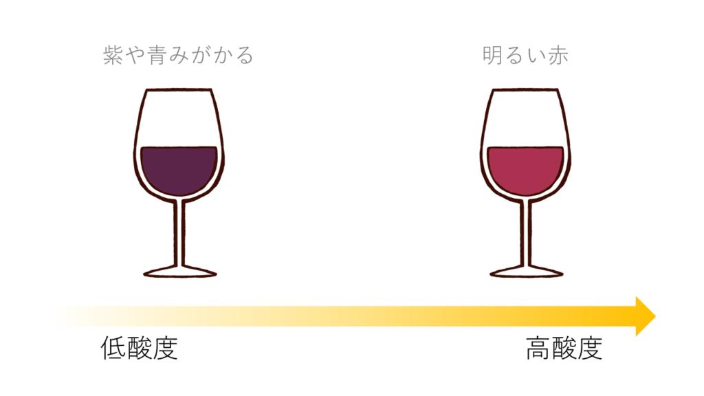酸度による赤ワインの色の変化
